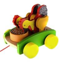 Starz Colorful Wooden Chicken Eating Meters Car Pulling Funny Kids Toy Vehicles Best Gift For Children
