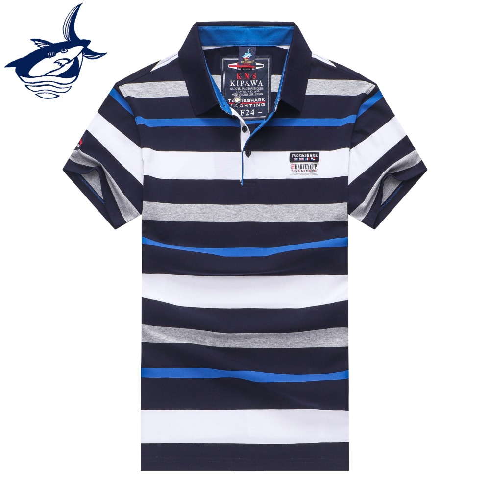 New European Style striped men   polo   shirt Letter embroidery casual & business   polo   shirts Tace & Shark   polo   shirt homme Tee 3XL