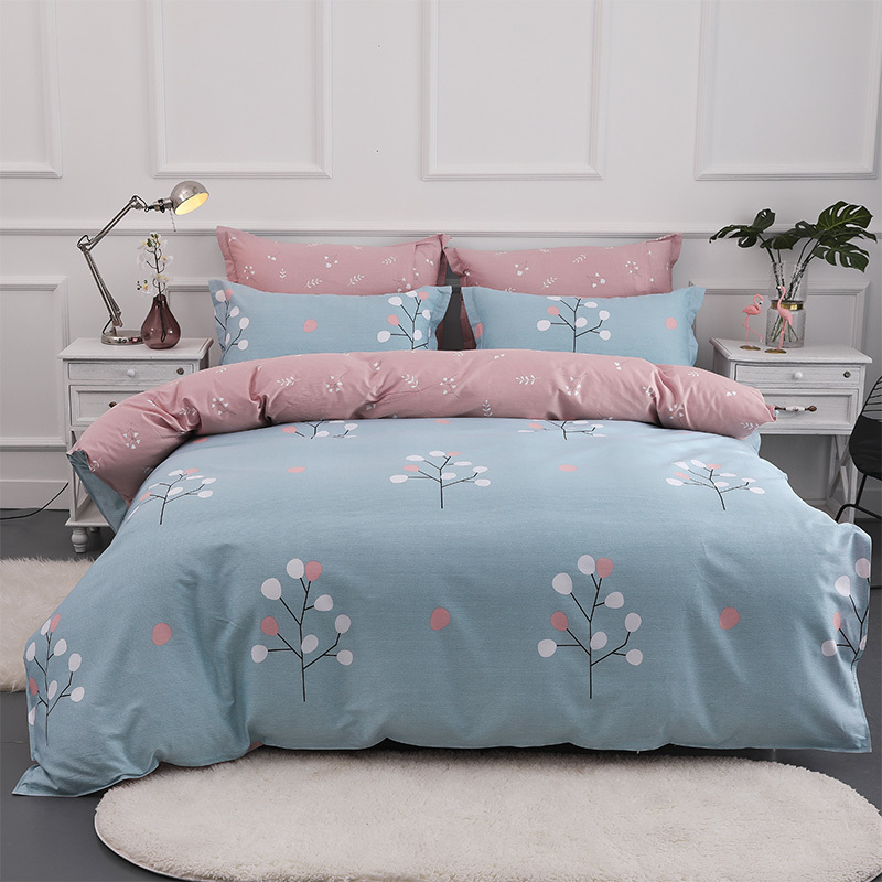Solstice Home Textile Simple Tree Pink Blue Duvet Cover Pillowcases Bed Sheet 100% Cotton Bedding Sets Girl Baby Kid Teen Linen