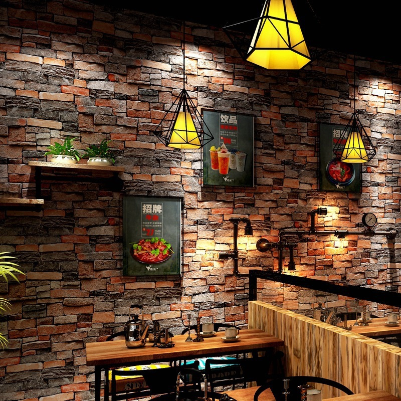 Chinese Retro nostalgic 3D imitation brick PVC wallpaper pub theme restaurant shop culture stone grey red brick pure wallpaper in Wallpapers from Home Improvement