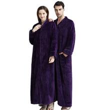 Zebery Unisex Flannel Long Robes Zipper Housecoat Full Length Zip up Robe Long Sleeve Wrap Bathrobe