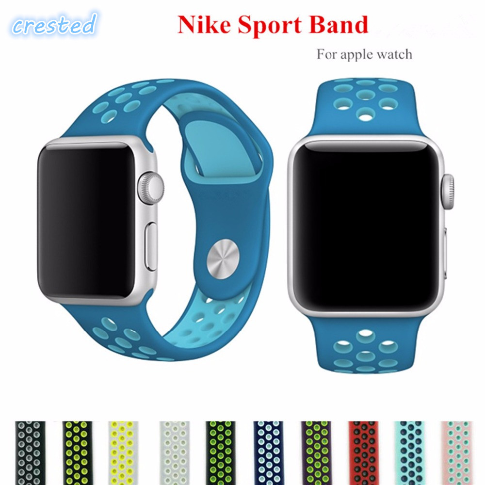 все цены на CRESTED sport Band For Apple Watch 3 42mm/38mm silicone iwatch band strap wrist band rubber replacement bracelet belt watchband онлайн