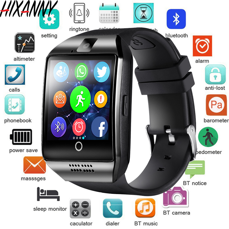 Smart Watch With Camera, Q18 Bluetooth Smartwatch SIM TF Card Slot Fitness Activity Tracker Sport Watch For Android Reloj Mens