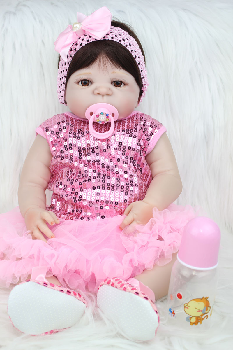55cm Full Body Silicone Reborn Baby Doll Toy Like Real 22inch Newborn Princess Girls Babies Doll Fashion Birthday Gift Bathe Toy npkcollection 55cm full silicone body reborn baby doll toy like real 22inch newborn girl princess babies doll bathe toy kid gift