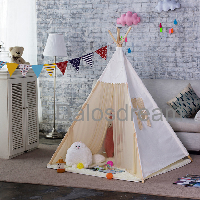 Dalos Dream Kids Teepee Tents Indian Tipi Tent Lace Game House Indoor Toy Tent Pure White Teepee For Baby Room Kids Teepee & Dalos Dream Kids Teepee Tents Indian Tipi Tent Lace Game House ...