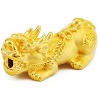 Новое поступление из чистого 999 24 К желтого золота 3D Благослови Pixiu бисера кулон большой размер 2,9 3,2 г