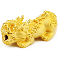 New Arrival Pure 999 24k Yellow Gold 3D Bless Pixiu Bead Pendant Big sized 2.9 3.2g