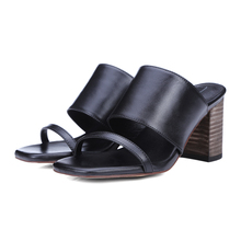 flip flops fashion slides sandal woman shoes 2017 new summer slippers high heel platform Fashion Solid Square heel Free Shipping