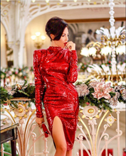 High Quality Red Long Sleeve Bright Open Fork Dress Club Party Bodycon