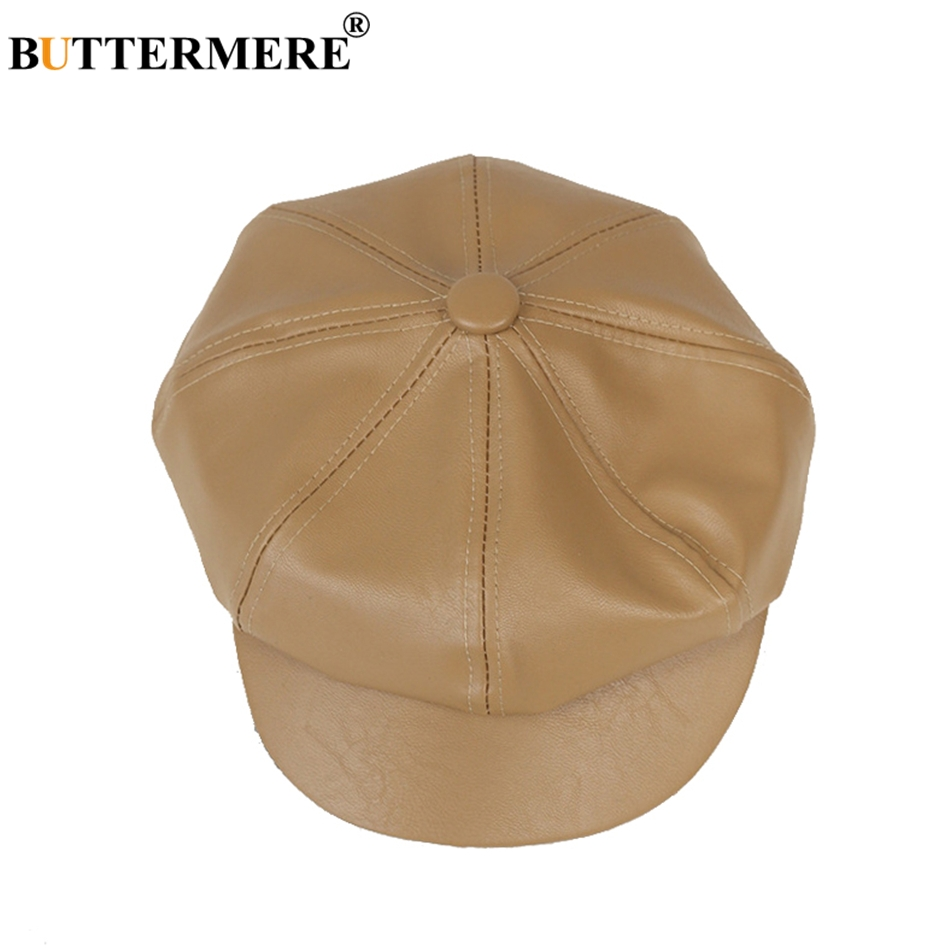 08e269e8c9a BUTTERMERE Oversized Hat Newsboy Men PU Leather Hats Octagonal Casual  Spring Female England Painter Classic British ...