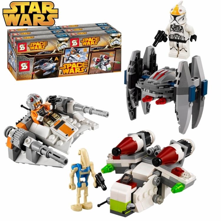 3sets star wars space ship tie fighter x wing c3po clone war super battle droids