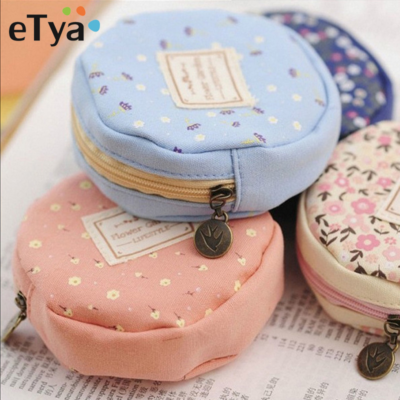 eTya Coin Purse Women Fresh Floral Coin Wallet Zipper Bag Change Pouch Key Holder Small Mini Storage Case Pouch Money Bags Gift