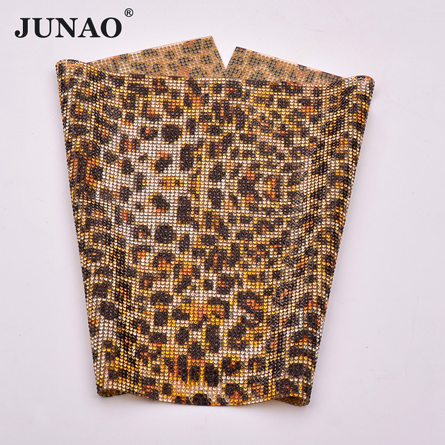 fc18dd770d US $15.9 40% OFF|JUNAO 24*40cm Leopard Color Hotfix Rhinestone Trim Mesh  Glass Beads Fabric Sheet Crystal Applique Strass Band DIY Shoes Dress-in ...