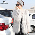 [HONGZUO] 2016 Winter Elegant Faux Fur Coat Black Women Fluffy Warm Long Sleeve Coats Grey Jacket Hairy Overcoat PC065