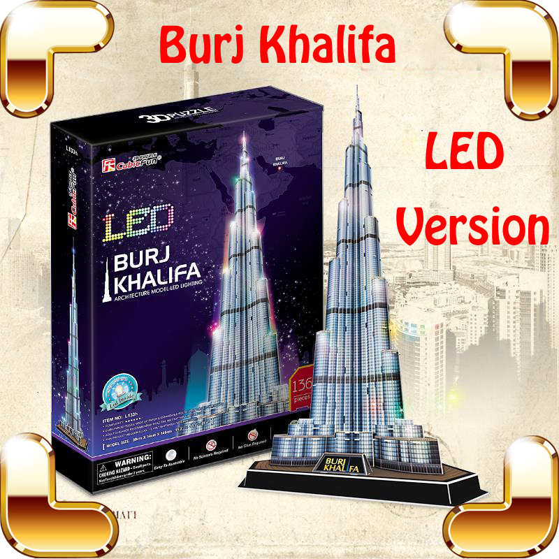 New Year Gift Burj Khalifa 3D Puzzle Model Building LED Tower DIY Display Decoration Toys Education IQ High Collection Pro Game 3d puzzle metal earth laser cut model jigsaws diy gift world s famous building eiffel tower big ben tower of pisa toys