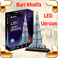 Regalo de Año nuevo Burj Khalifa Rompecabezas 3D Modelo de Construcción LED torre De Pantalla BRICOLAJE Decoración Juguetes Educativos IQ Alta Colección Pro juego