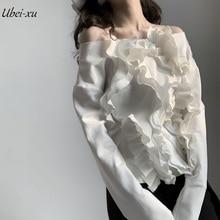 Ubei New Arrival long-sleeve slash neck back shirt sexy female ear edge bottom white/red base pure color blouse