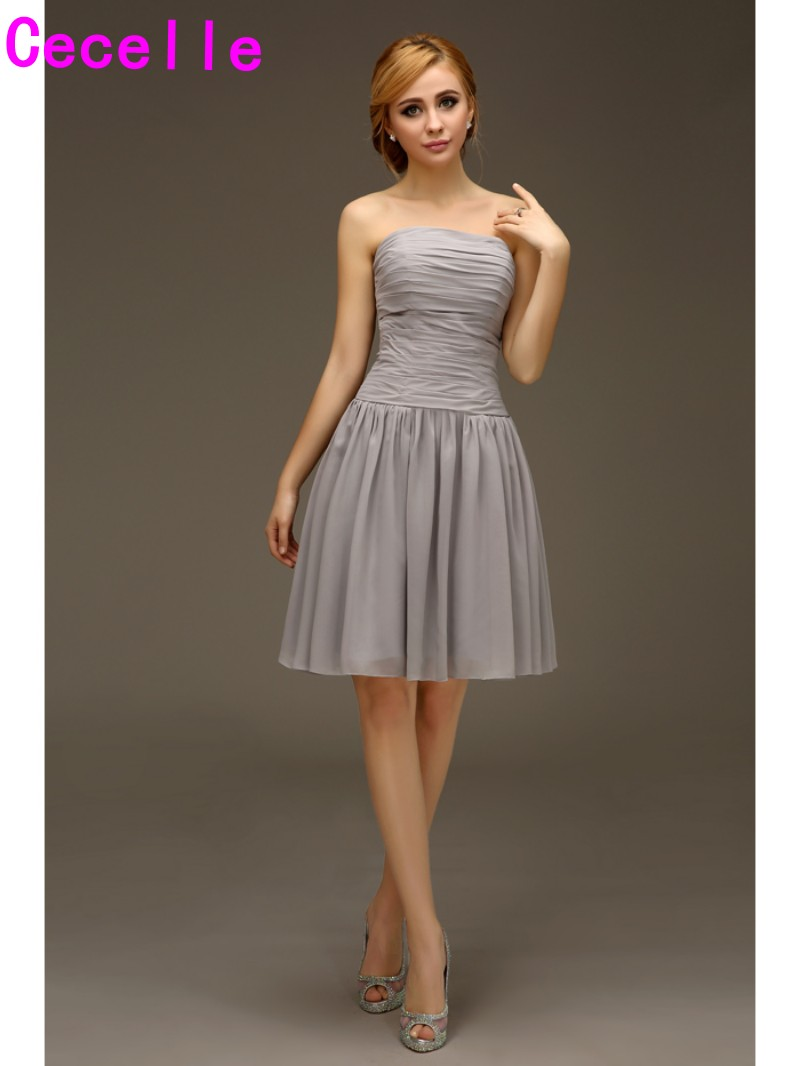 Compare prices on country bridesmaid dresses online shoppingbuy short a line silver strapless chiffon beach bridesmaids dresses short wedding party dresses informal country ombrellifo Images