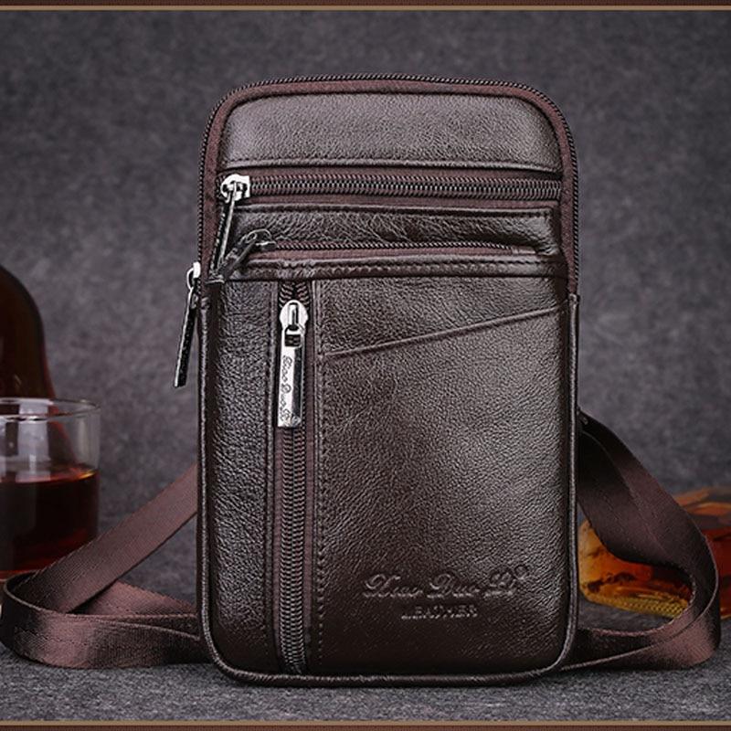 New Men Genuine Leather High Quality Fashion Crossbody Shoulder Bag Belt Hook Waist Fanny Pack Phone Cigarette Case Bag Wallet