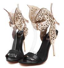 ขนาด4 ~ 9โกลเด้นรองเท้าส้นสูงผู้หญิงปั๊มฤดูร้อนผีเสื้อผู้หญิงรองเท้าs zapatos mujer