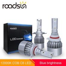 Roadsun стайлинга автомобилей пятно света 12000 K COB Чип C6 фар автомобиля лампы светодиодный H7 H4 H1 H11 9005 9006 светодиодный лампы Kit Auto синий освещение