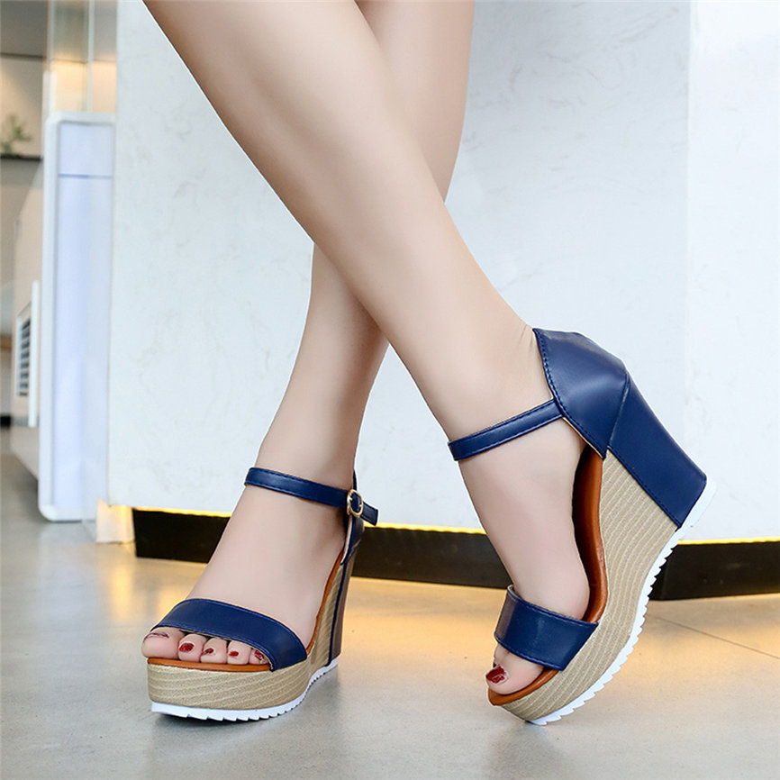 Summer Women Shoes Women Casual Wedge Summer Buckle Strap High Heel Platform Peep Toe Shoes Sandals For Ladies M18#30
