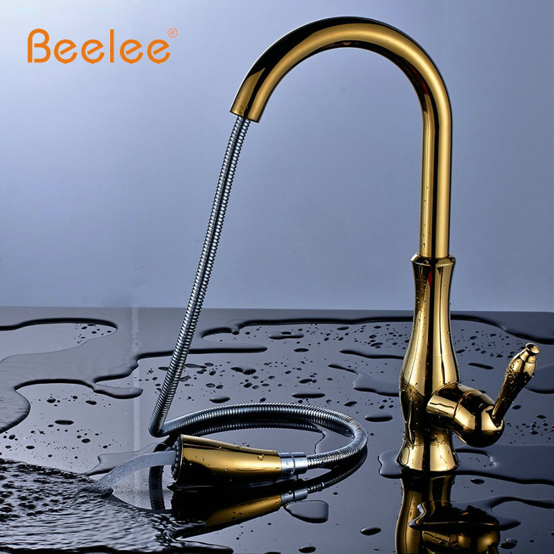 Beelee Kitchen Faucet Pull Out Deck Mounted Pull Swivel 360 Degree Rotating Cold And Hot Tap Gold Torneira Dourada Mixer Tap newly arrived pull out kitchen faucet gold sink mixer tap 360 degree rotation torneira cozinha mixer taps kitchen tap