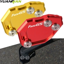 With F800GS LOGO CNC Aluminum Side Stand Enlarge Plate Kickstand Extension Black For BMW F800 GS F 800