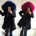 Высокое качество бренда 2016 большой мех енота с капюшоном длинные зимняя куртка женщины куртка природный настоящее шуба для женщин толстые теплые лайнер