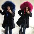 Marca de qualidade top 2016 grande pele de guaxinim com capuz jaqueta de inverno longo mulheres parka casaco de pele real natural para mulheres grosso quente forro