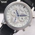 Homens relógios mecânicos Jaragar marca de luxo automático 6 mãos dos homens genuínos relógios pulseira de couro preto relógios de pulso para homens