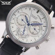 JARAGAR Men Mechanical Watches Brand Luxury Men'S Automatic 6 Hands Genuine Leather Strap Watches Black  Wristwatches For Men