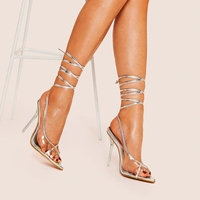rome Gladiator Sandals Heel hight Summer sexy shoes in high heels lace up sandals luxury silver womens shoes transparent ladies