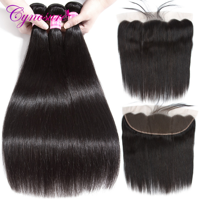 Cynosure Brazilian Straight Hair 13*4 Lace Frontal Closure With Bundles Non-remy Human Hair 3 Bundles With Frontal Closure