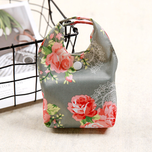 Foldable Oxford Shopping Bag Grey Rose Eco Handy Reusable Tote Pouch Recycle Storage Folding