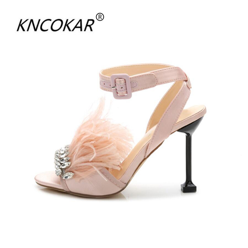 77dd260026887 2017 new fashion Summer diamond wedding shoes feather princess high heels  peep-toe sandals are