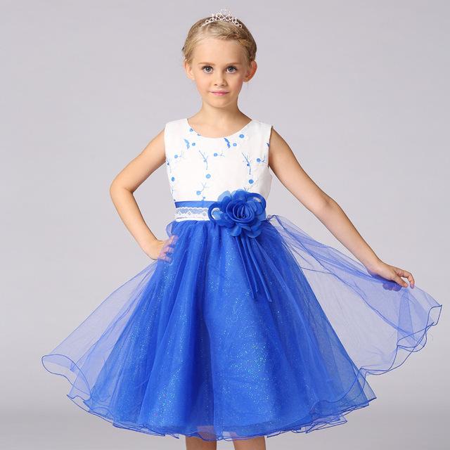 Novas Crianças de Verão Meninas Vestido Sem Mangas Bonito Cintura com Flor Lace Vestido de Princesa Roupa das Crianças
