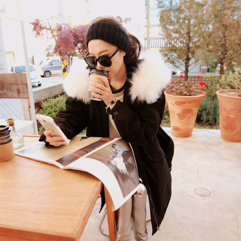 2017 Women Fashion Winter Down Jacket With Big Faux Fur Collar Warm Winter Big Coat Fashion Hooded Korea Quilted Loose Overcoat faux rabbit fur brown mr short jacket sleeveless with big raccoon collar fall coat