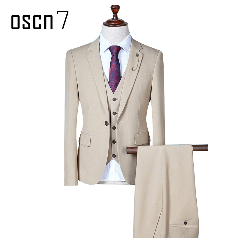OSCN7 Solid Men Suits 3 PCS Slim Fir Leisure Wedding Dress Suits for Men Office Formal Suit Men Costume Mariage Homme S-4XL