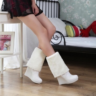 Free shipment 2011 wedges snow boots high-heeled platform boots white boots high-leg two ways bridal shoes boots