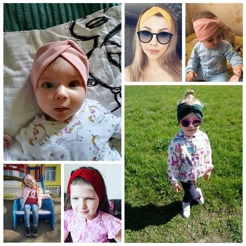 สีทึบเด็กแถบคาดศีรษะสาว Twisted Knotted ไนลอนยืดหยุ่นผมอุปกรณ์เสริม Haarband เด็กผู้หญิง Headbands