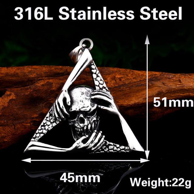 STAINLESS STEEL DEVIL HAND SKULL NECKLACE