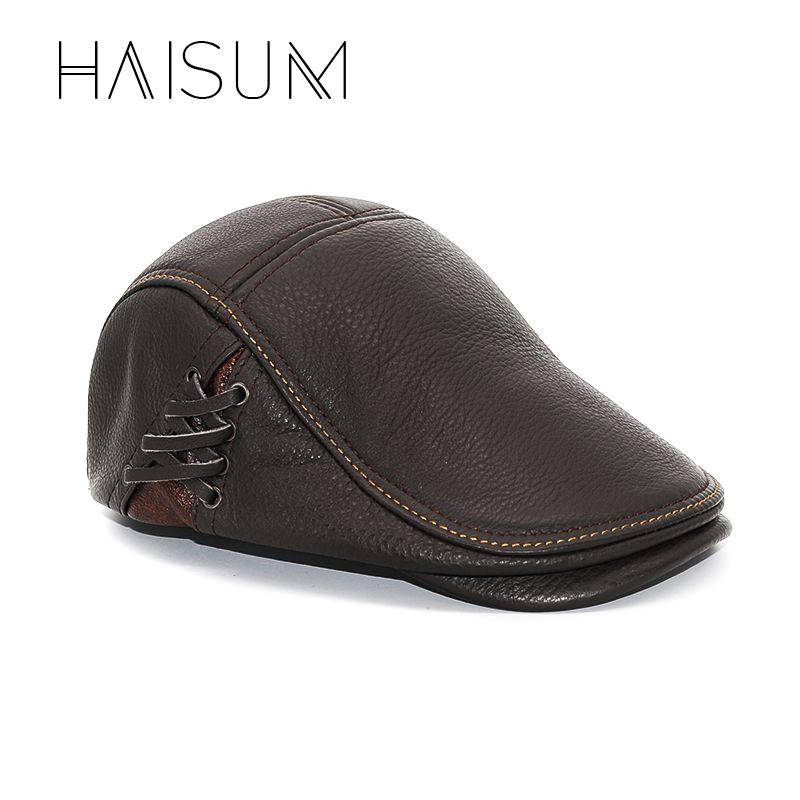 2018 Rushed Adult Haisum Men Genuine Leather Newsboy Hat Cap Gatsby Flat Cabbie Baker Beret Retro Brand New Men's Baseball Cs54 unsiex men women cotton blend beret cabbie newsboy flat hat golf driving sun cap