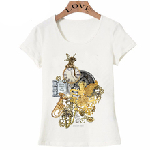 New summer Steampunk Style shirts women's short sleeve Once upon a time T-Shirt colorful casual lady Tops Cool hipster girl Tee