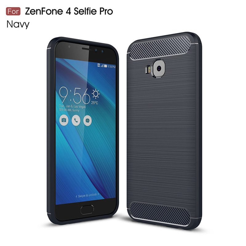 1Pcs Luxury Mobile Phone Cases for ASUS ZenFone 4 Selfie Pro Silicone Drop Protection Gel carbon fiber Soft Shell in Half wrapped Cases from Cellphones Telecommunications