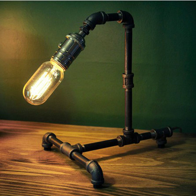 Vintage Metal Water Tube Bar Counter Table Light  American Country Rustic industrial Bedroom Table Lamp Study Room Desk Lights