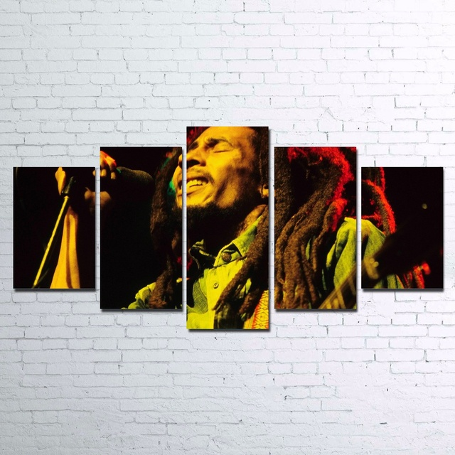 Modular Poster HD Printed Canvas Painting 5 Pieces Art BOB MARLEY Unframed
