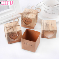 QIFU 50pcs Love Heart Candy Box Romantic Vintage Kraft Boxes Wedding Favors And Gifts For Rustic