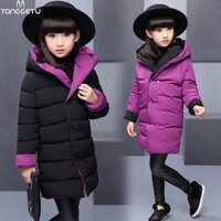 2017 New Kids Down Coats And Jackets Girls Double Sided Clothes Warm Jackets For Girls Hooded