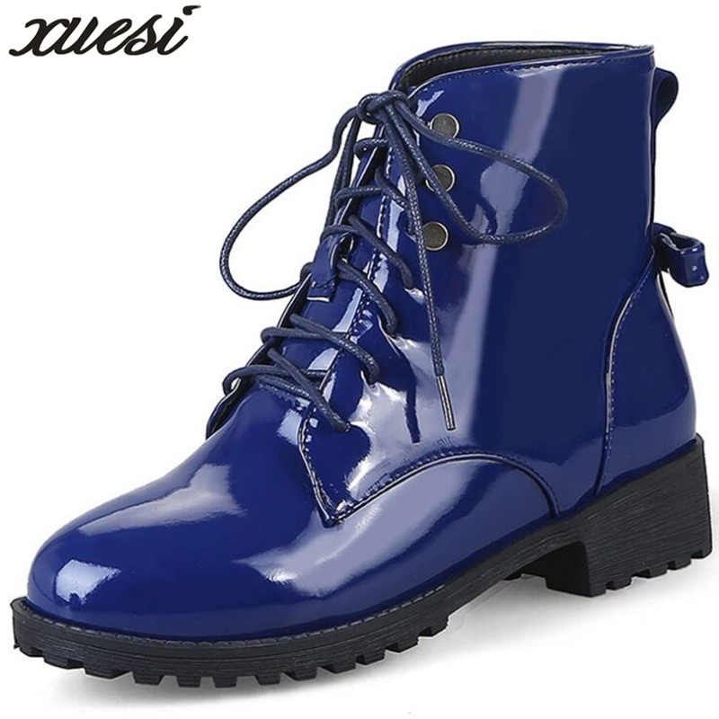 XUESI 2018 Patent Leather Large Size Martin Boots Women Fall Boots Waterproof Non-slip Winter Warm Boots Snow Boots Size 35-46 ...